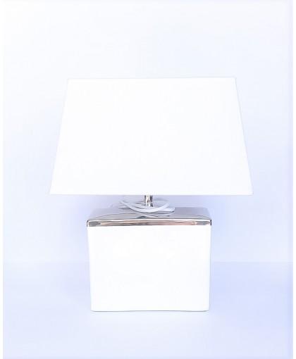 LAMPA BIAŁA Z BIAŁYM ABAŻUREM
