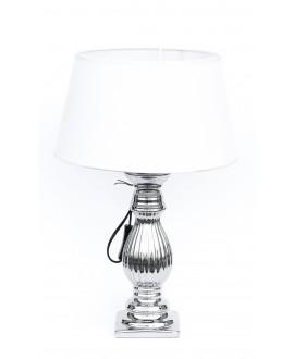 LAMPKA SREBRNA Z BIAŁYM ABAŻUREM 40CM 40cm