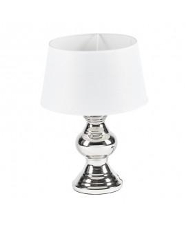 Lampa srebrna z białym abażurem