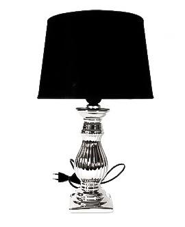 Lampka srebrna z czarnym abażurem 40cm